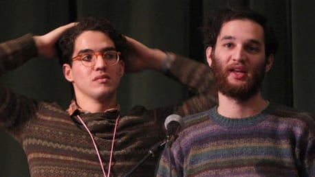 "Directors Benny Safdie and Josh Safdie speak onstage at the ""Dad"