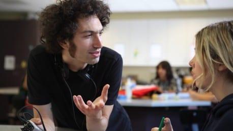Director Azazel Jacobs on the set of TERRI